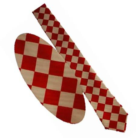 Cravata - Alb cu romburi rosii [0]