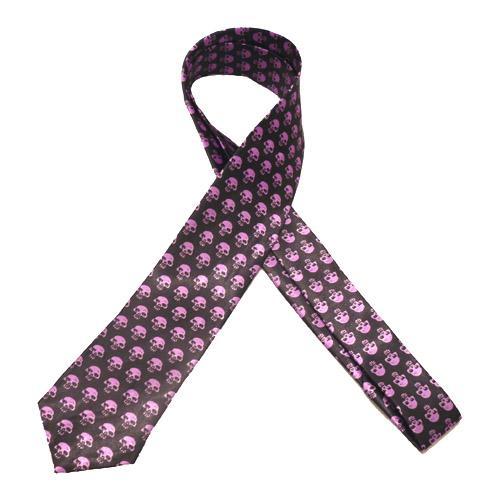 Cravata - neagra cu cranii mov Tie-030 [0]