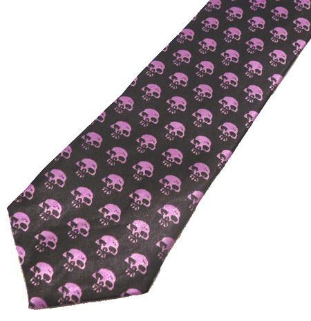 Cravata - neagra cu cranii mov Tie-030 [1]