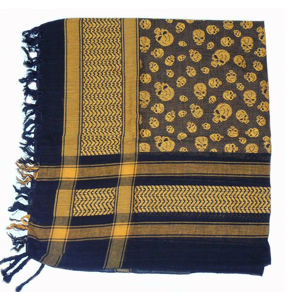 Esarfa Black OrangeYellow with skulls 1
