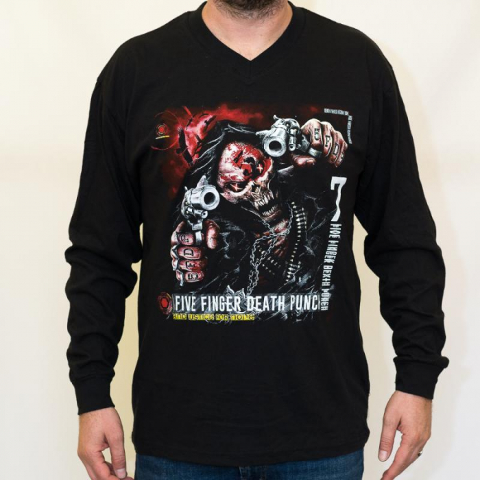 Long Sleeve V Neck Five Finger Death Punch - and Justice 0