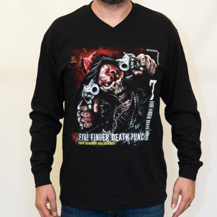 Long Sleeve V Neck Five Finger Death Punch - and Justice [0]