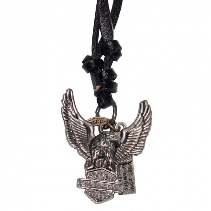 Medalion cu snur din piele-  Harley Logo 0