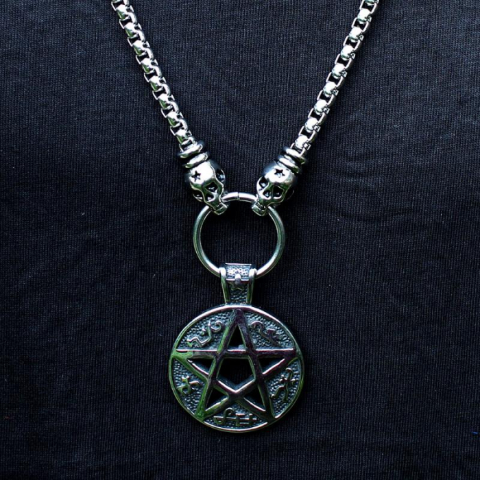Medalion mare Stainless Steel - Magic Pentagram 1