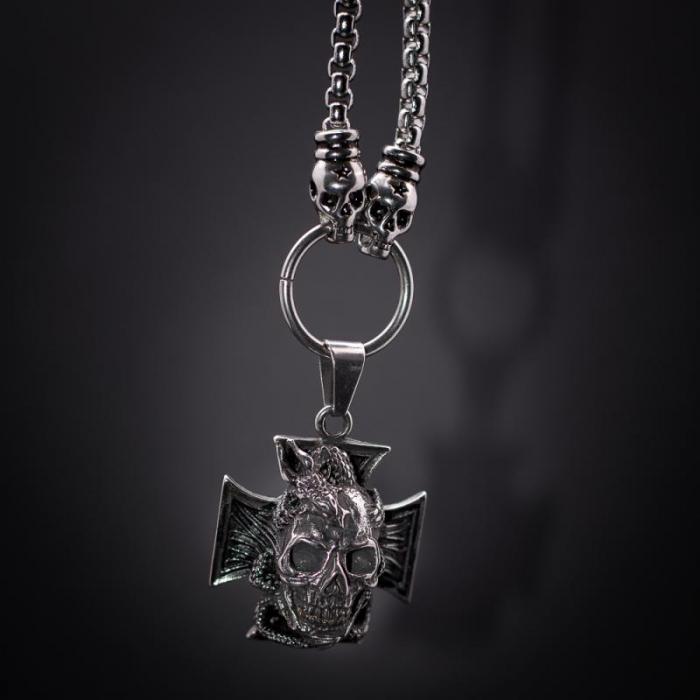 Medalion mare Stainless Steel - Skull Iron Cross 0
