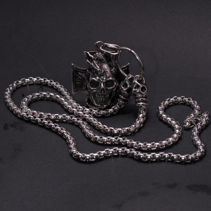 Medalion mare Stainless Steel - Skull Iron Cross 1