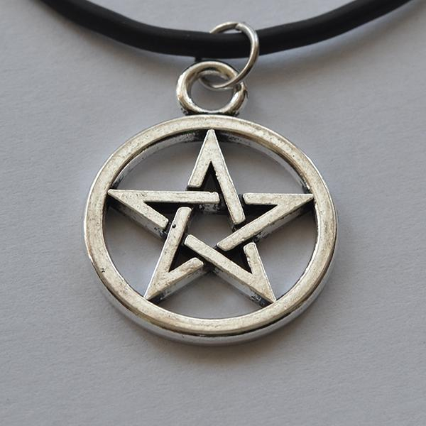 Medalion Pentagrama Mica Argintie [0]