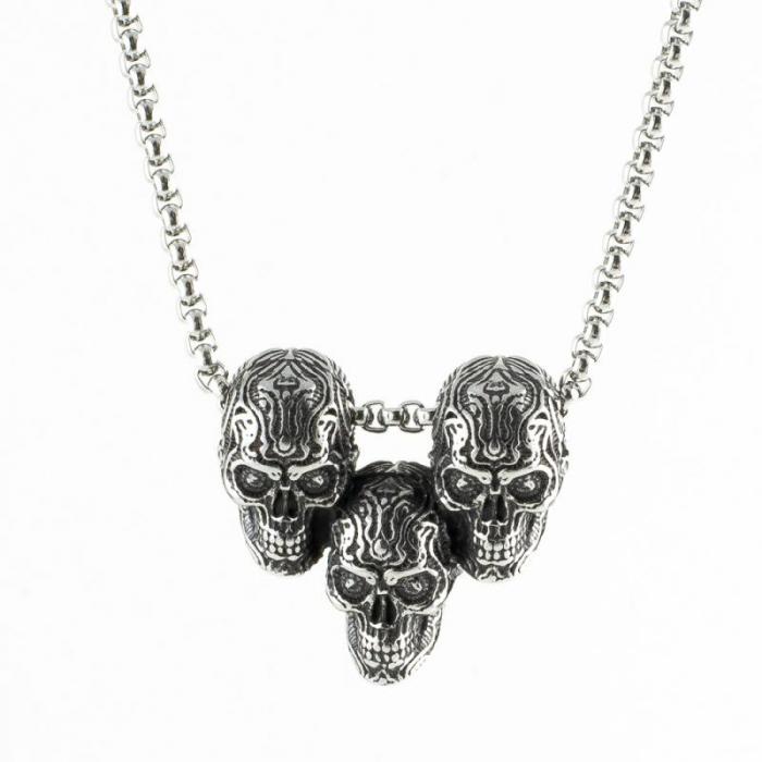 Medalion Stainless Steel - 3 Skulls cu lant [0]