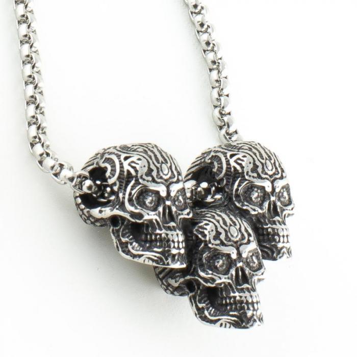Medalion Stainless Steel - 3 Skulls cu lant [1]