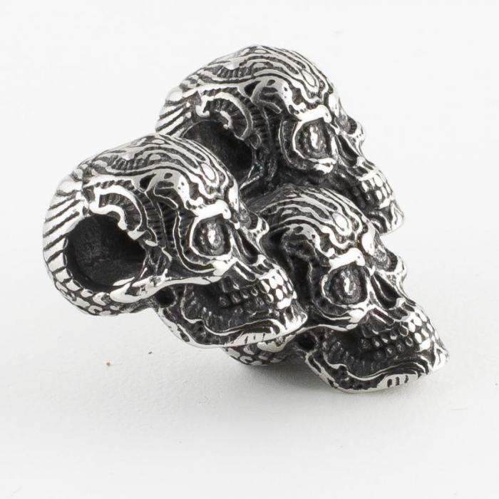 Medalion Stainless Steel - 3 Skulls simplu 1