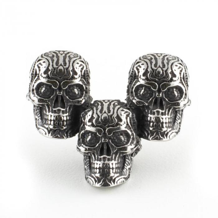 Medalion Stainless Steel - 3 Skulls simplu 0
