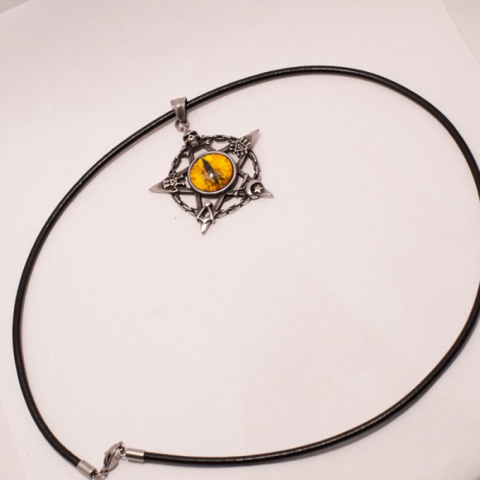 Medalion Stainless Steel - Eyepentagram cu Snur 1