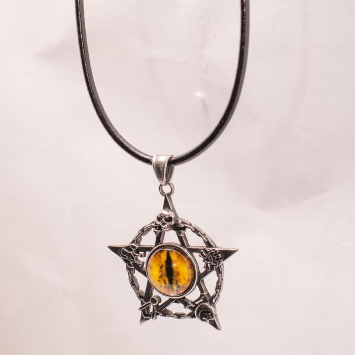 Medalion Stainless Steel - Eyepentagram cu Snur 0