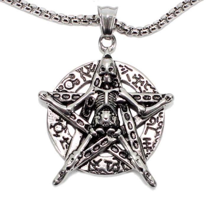 Medalion Stainless Steel - Petagrama Schelet 0
