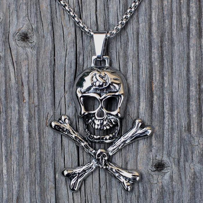 Medalion Stainless Steel - Skull & Bones [0]