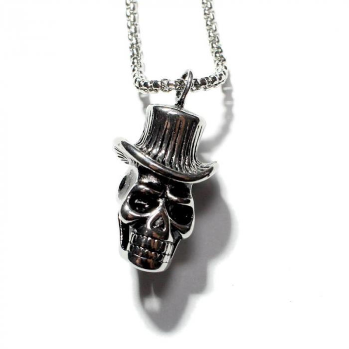 Medalion Stainless Steel -  Skull Hat [0]