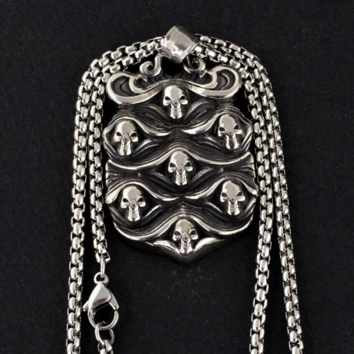 Medalion Stainless Steel - Skulls Wave 0