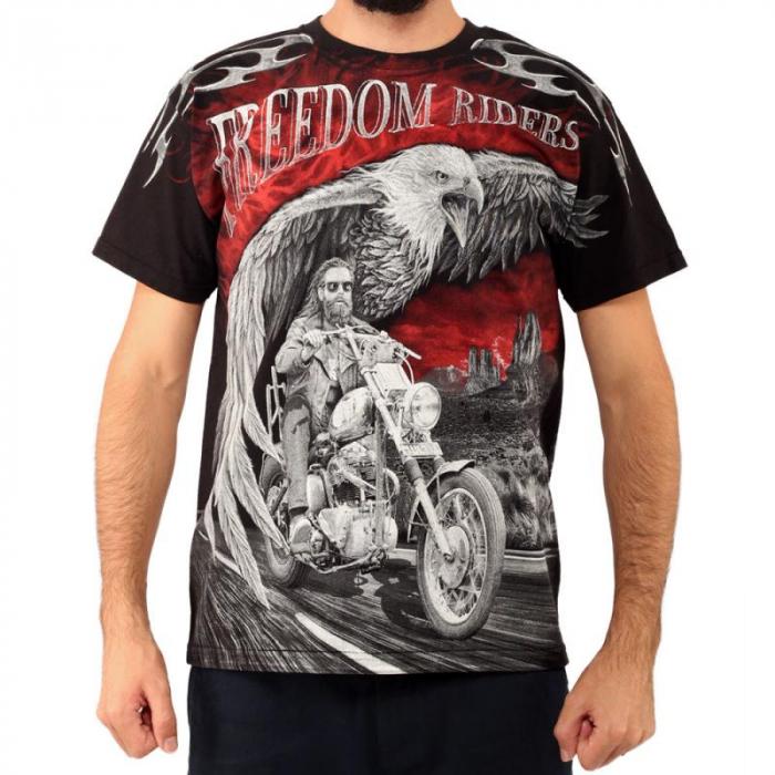 Tricou biker full printed - Freedom 0