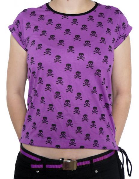 Tricou Femei Full Print - mov cu cranii 0