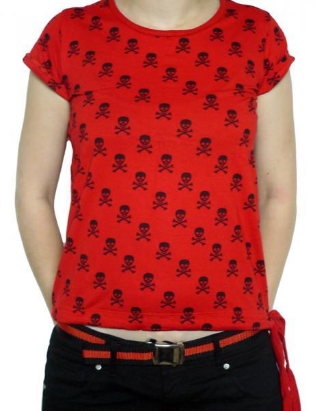 Tricou Femei Full Print - rosu cu cranii 0