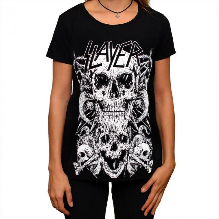 Tricou Femei Slayer - Skull & Bones 0