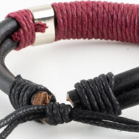 Bratara din piele cu impletitura din snur - Red [2]