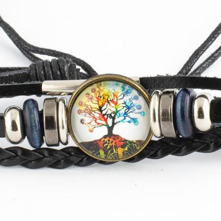 Bratara din piele cu snur - Rainbow Tree [1]