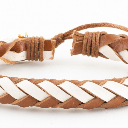 Bratara din piele impletita - Brown and White1