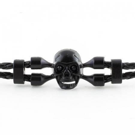 Bratara Metalica Impletita - Black Skull - Mat [1]