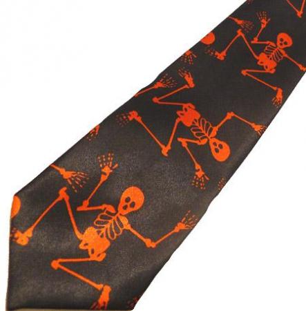 Cravata Neagra Scheleti rosii1