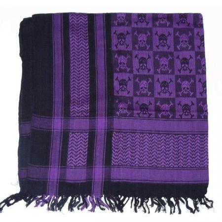 Esarfa Black Purple Skulls1