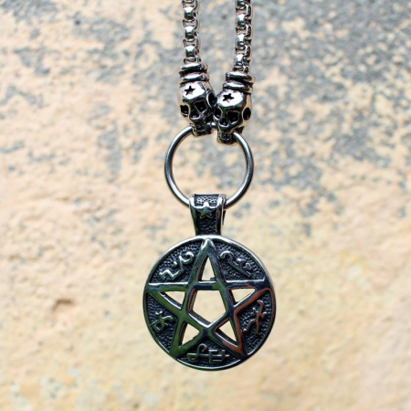 Medalion mare Stainless Steel - Magic Pentagram0