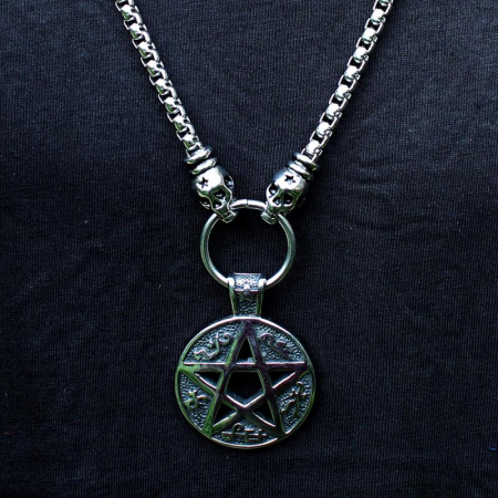 Medalion mare Stainless Steel - Magic Pentagram1