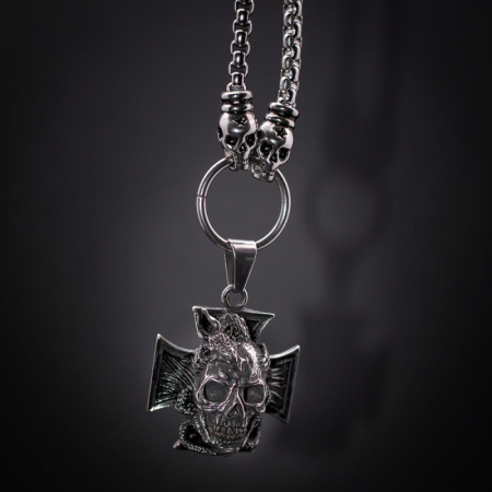 Medalion mare Stainless Steel - Skull Iron Cross0