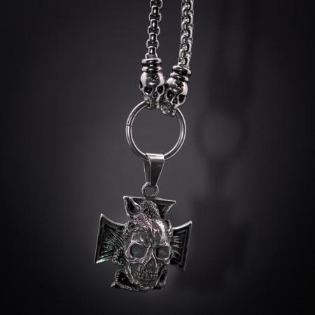 Medalion mare Stainless Steel - Skull Iron Cross2