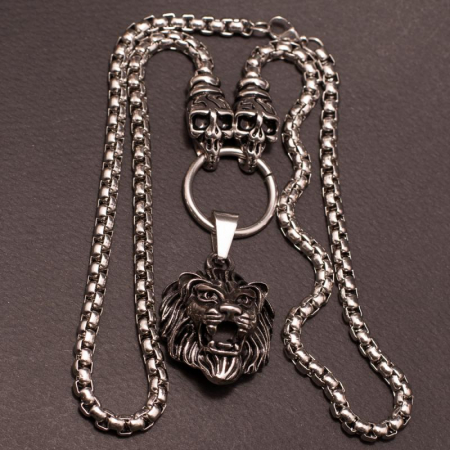 Medalion Stainless Steel - 3D Lion Head cu Lant [2]