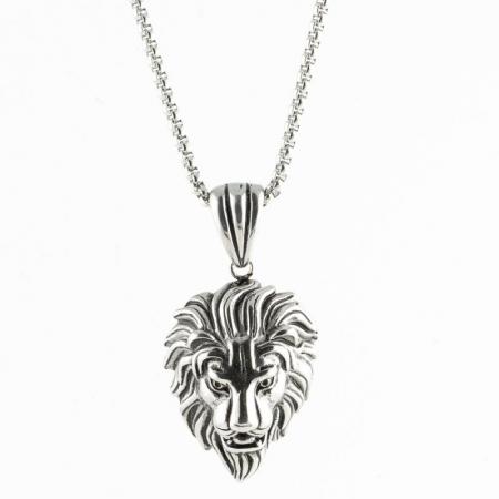 Medalion Stainless Steel - 3D Lion Head cu lant simplu [0]