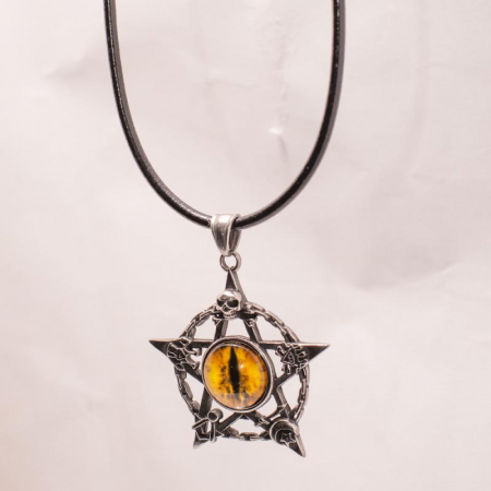 Medalion Stainless Steel - Eyepentagram cu Snur0