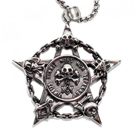 Medalion Stainless Steel - Pentagrama Masonica0