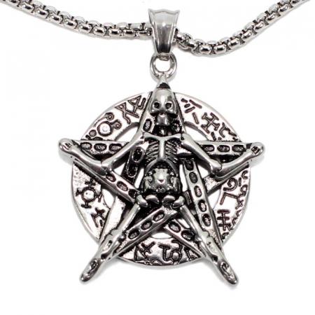 Medalion Stainless Steel - Petagrama Schelet0