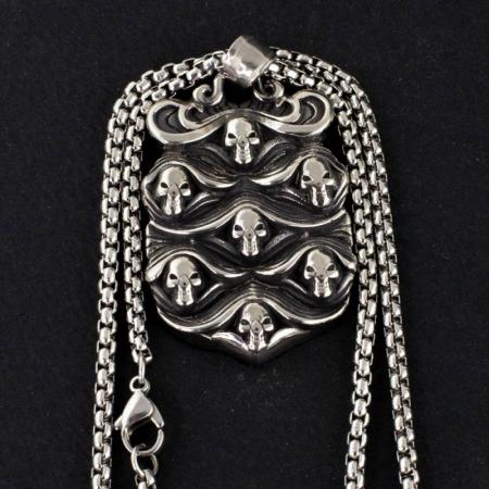 Medalion Stainless Steel - Skulls Wave0