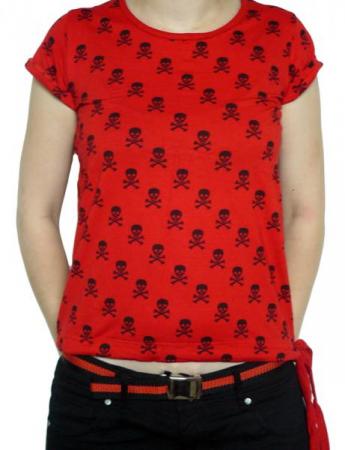 Tricou Femei Full Print - rosu cu cranii0