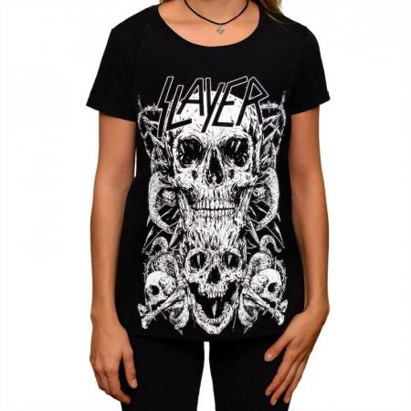 Tricou Femei Slayer - Skull & Bones0