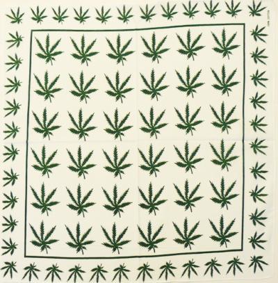 Bandana Cannabis Leaf alb/verde 0
