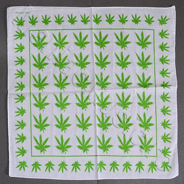 Bandana Cannabis Leaf alb/verde deschis 0