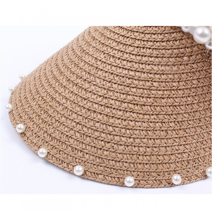 Cozoroc din rafie Bej cu perle pentru adulti sau copii 7