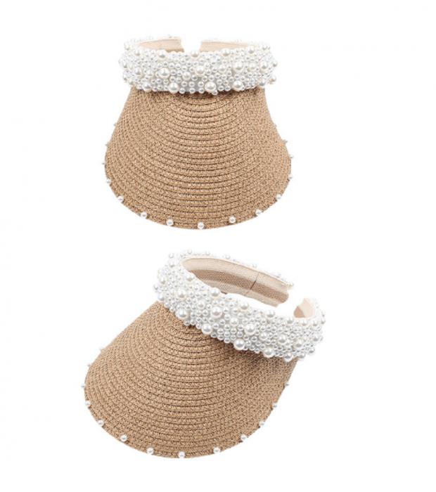 Cozoroc din rafie Bej cu perle pentru adulti sau copii 10