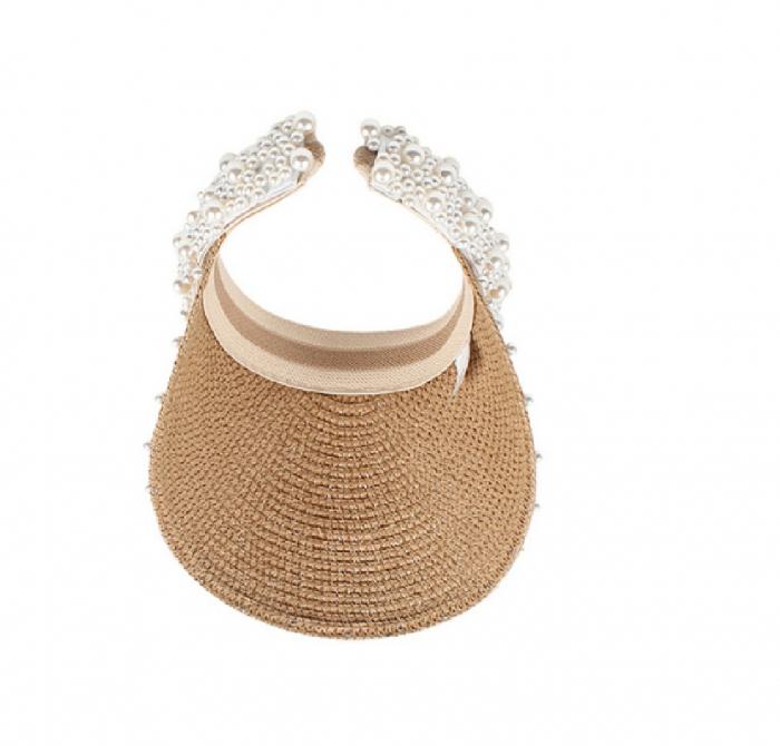 Cozoroc din rafie Bej cu perle pentru adulti sau copii 9