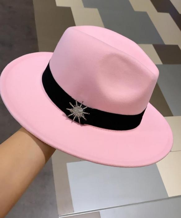 Palarie Roz Handmade din fetru cu funda si accesoriu la alegere 0