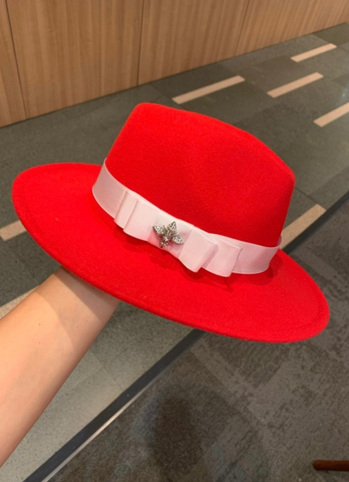 Palarie Rosie Handmade cu bentita detasabila si accesoriu la alegere 0